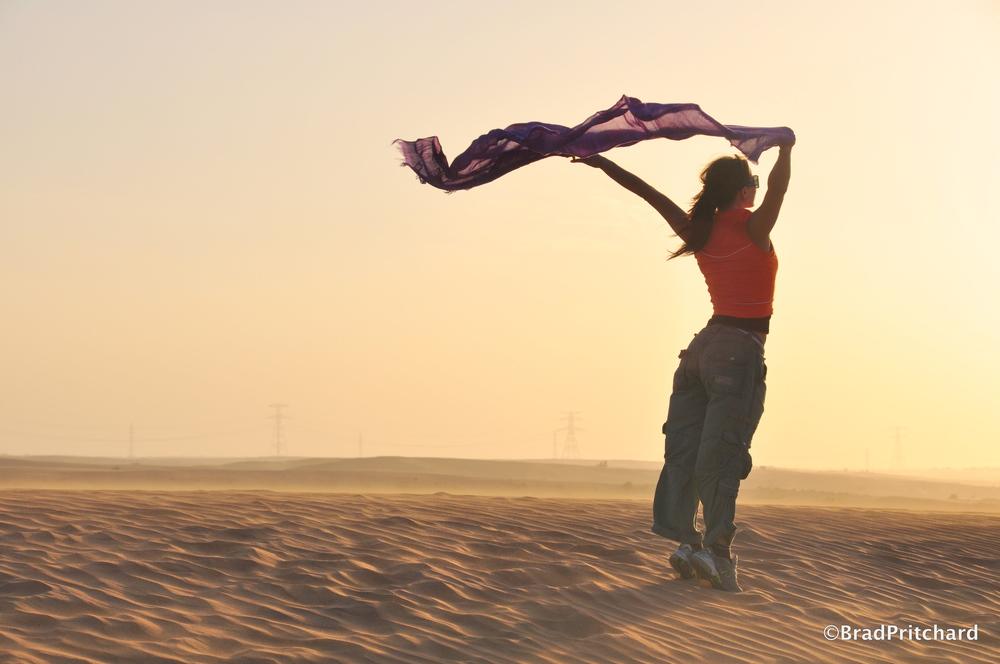 Aserendipitous moment in the windy Dubai desert