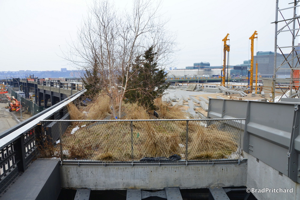 The future section of the High Line extending over the Hudson Rail Yard.