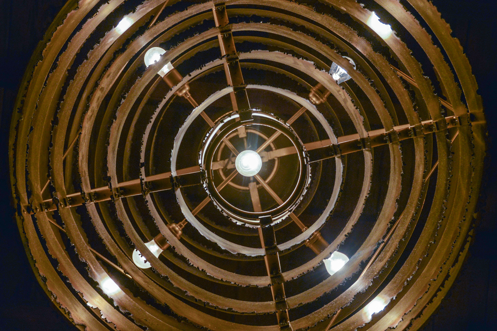 Circular saw chandelier from below