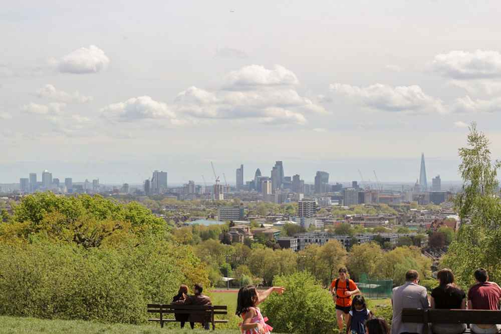 The view of central London from the Heath