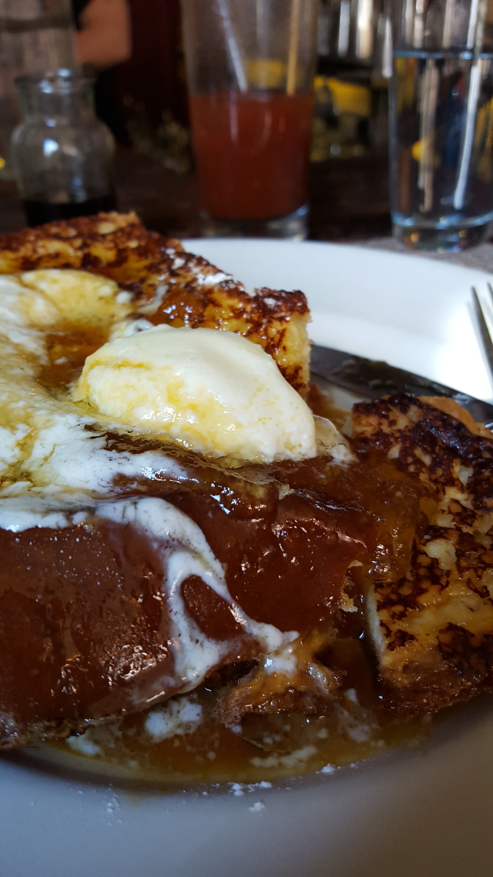 Brioche French Toast with mascarpone and spiced apple butter.