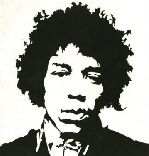 Jimmy Hendrix Portrait Scratchboard