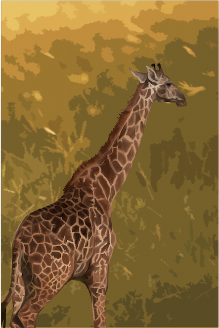 I have always been fascinated with posterization which is why this is one of my earlier Mixed program pieces where the giraffe was painted in Adobe Photoshop while the background was done in Adobe Illustrator.