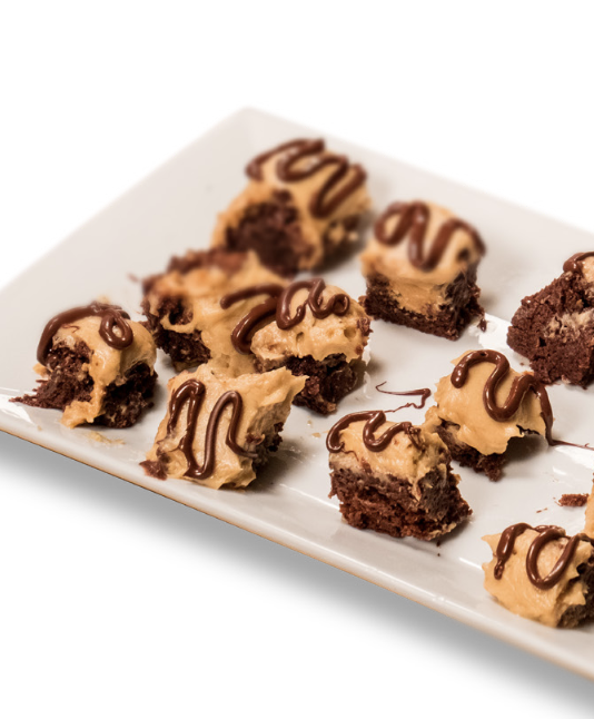 DOUBLE DOUBLE PEANUT BUTTER BROWNIES - Prep Time: 20 minutesCook Time: 25–28 minutesTotal Time: 45–48 minutesYields: 6 servings