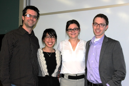 Ivey Associate Professor Oana Branzei (centre) with Nolan Andres, founder and CEO of Peaceworks Technology Solutions;  Joyce Sou, Manager of B Corporations and Social Impact Metrics at the MaRS Centre for Impact Investing; and Adam Spence, Founder of the Social Venture Exchange, at the Social Innovation @Ivey forum