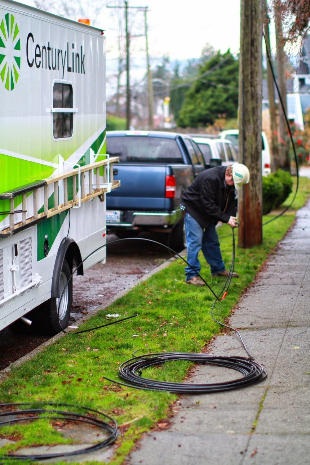 Bob with CenturyLink installing fiber along SW Frontenac Street in West Seattle