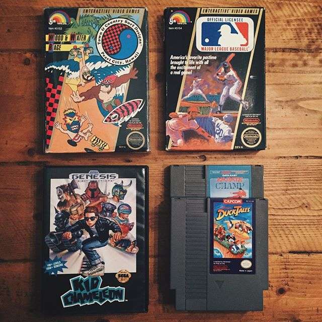 Picked up some of my favorite original NES games this weekend along with a Sega classic. Let the collection begin. . . . #nes #nintendo #sega #segagenesis #nintendolife #nintendogames #videogames #videogamecollector #retrovideogames #designer #graphicdesigner #collector #gamechasers #nintendoquest #kidchameleon #karatechamp #ducktales #disney #majorleaguebaseball #surfdesigns #80s #90s #brandedinthe80s #retro #vintage #nostalgia #gamer #ljn #treasure #classic