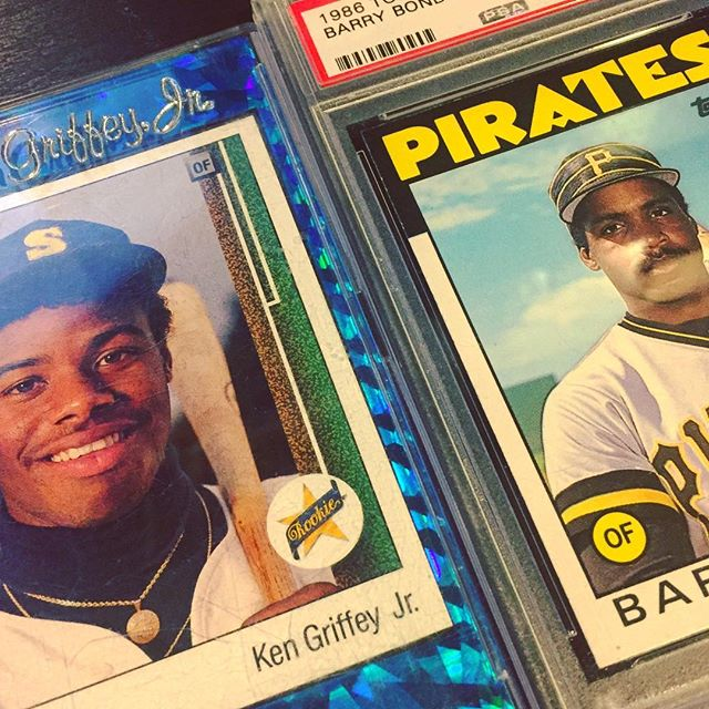 That @therealkengriffeyjr rookie card was my most prized possession as a kid. I used to carry that thing everywhere! My dad hunted it down and gave it to me one year at Christmas. Still love that card. It's a permanent fixture on my desk at all times. Nobody is better than Junior. Bonds is the man too. Hopefully they put him in the HOF someday. . . . #80skid #90skid #designer #baseballcards #baseball #kengriffeyjr #barrybonds #junior #halloffamer #upperdeck #topps #collector #retro