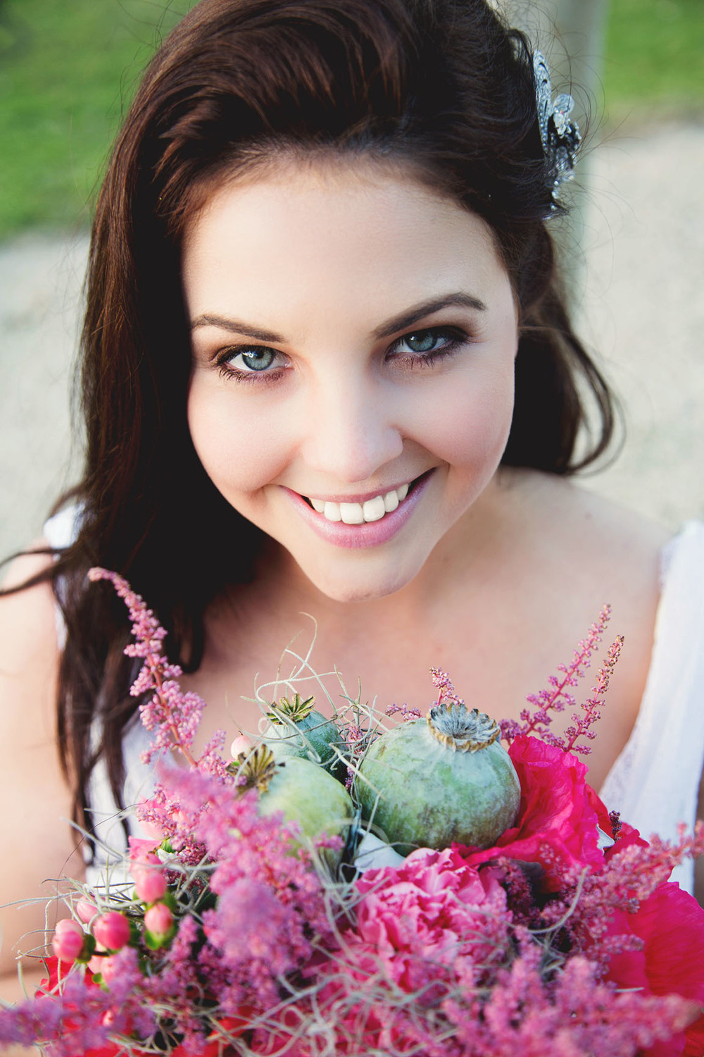 Model Rhiannon, Bridal Bouquet from Fiddlesticks Floral Design, Hair & Makeup By I-blush