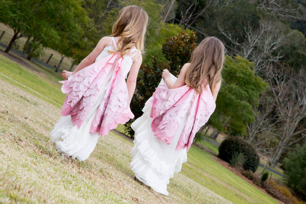 Models Molly & Freya, Flower girl dresses by Tea princess, Vintage handmade wings by Imagine for kids