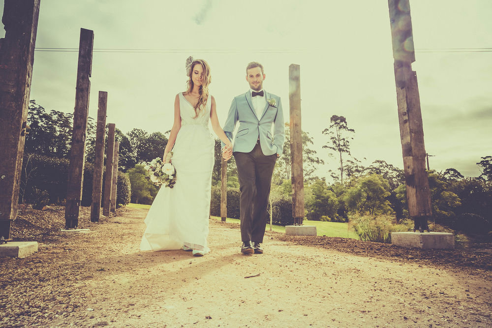 Models Fleur & Tom, Wedding venue Fernbank Farmstay, Wedding dress By Sherry Bridal Couture, Wedding shoes By Iron Fist, Groom's  suit by  Montagio Custom Tailoring.
