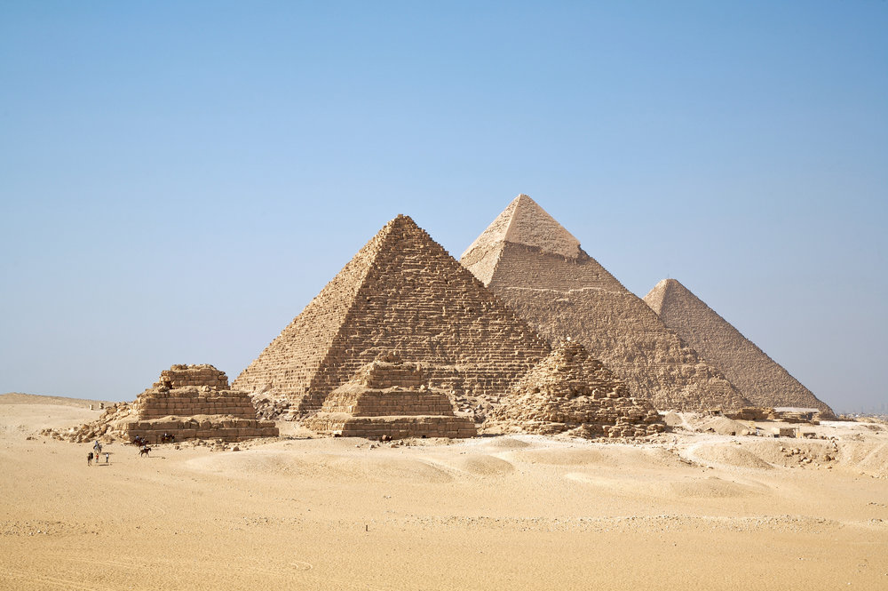 A view of the pyramids at Giza from the plateau to the south of the complex.