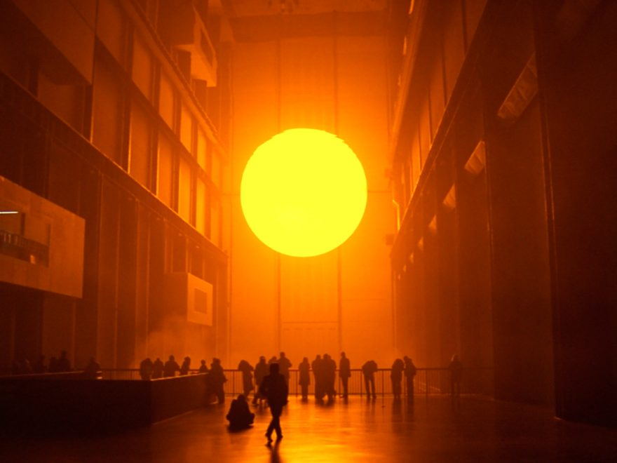 Olafur Eliasson, The Weather Project (2003) Eliason created a stunning installation in the Tate Modern, London. The work replicated the sun in an impossible space, bridging the gap between reality and imagination.