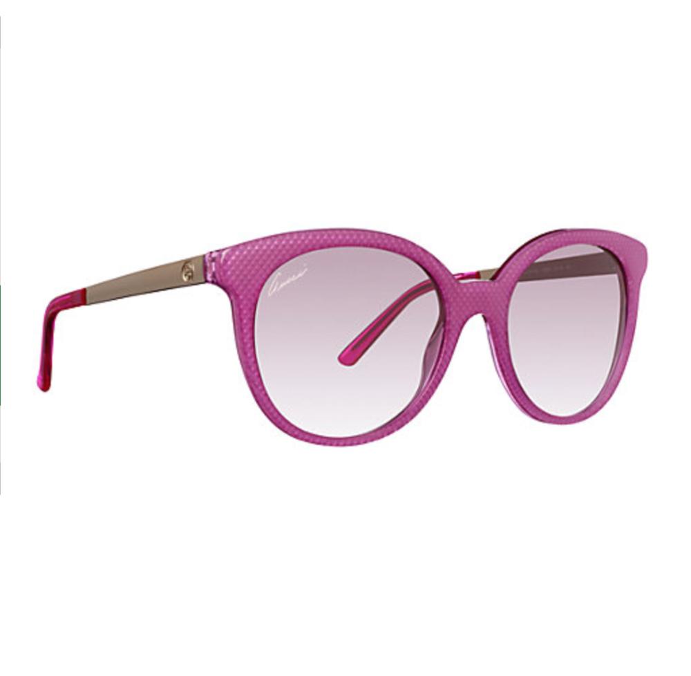 Gucci Round Shape Embossed Sunglasses in Fuchsia
