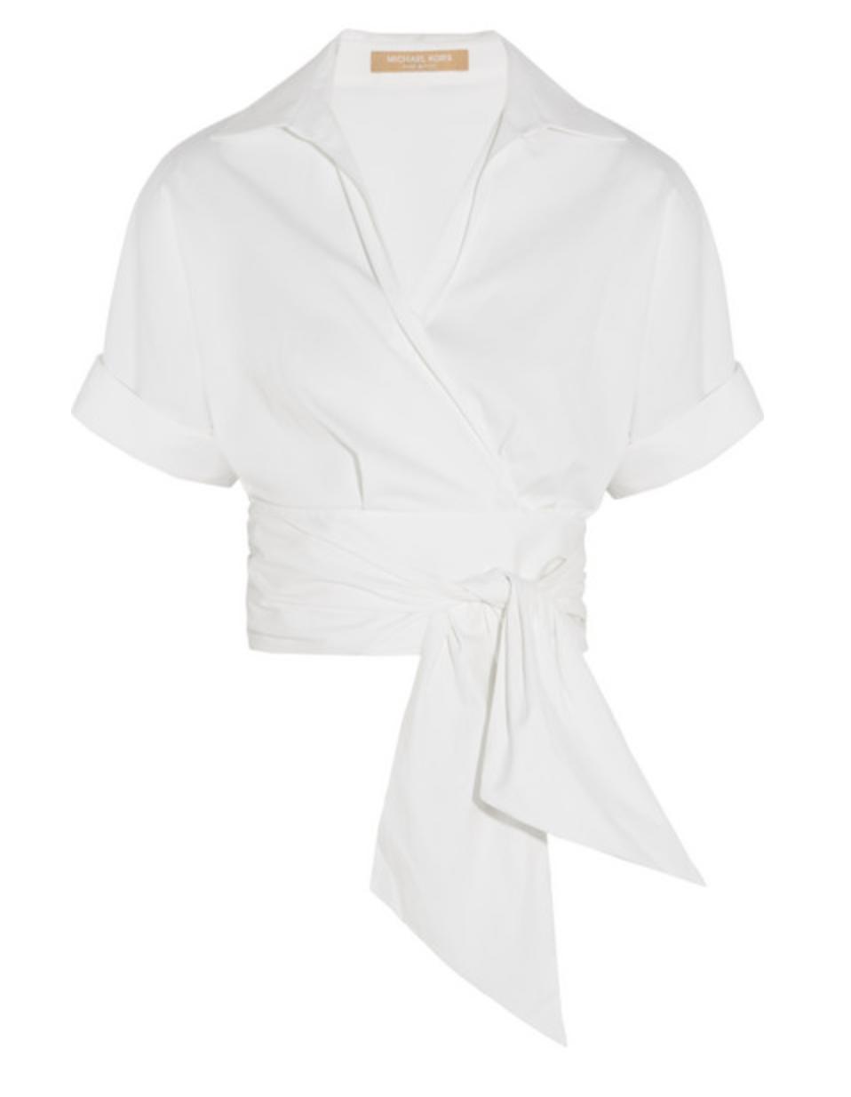 Michael Kors Wrap-front Stretch-cotton Poplin Shirt