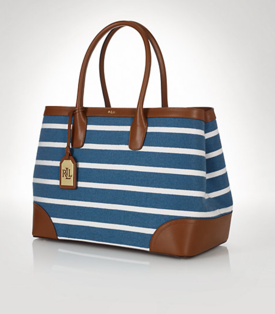 Ralph Lauren Striped Canvas Tote