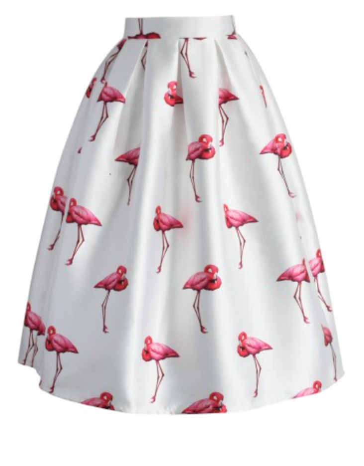 Chic Flamingos Pleated A-line Skirt