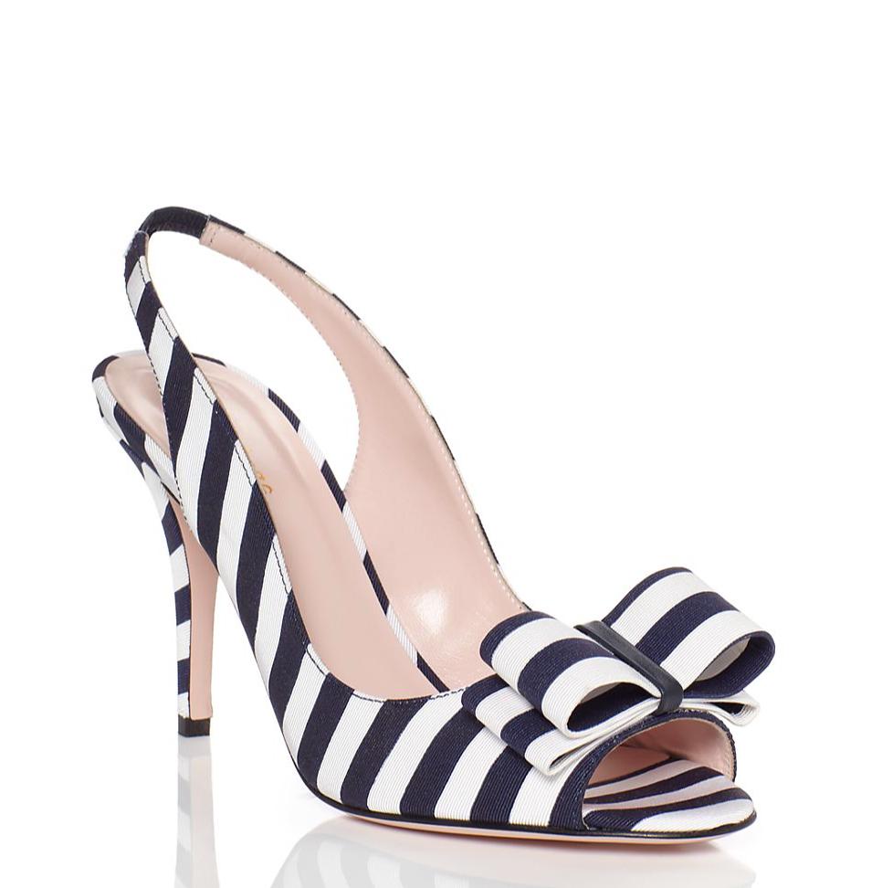 Kate Spade Celeste Navy and White Stripe Bow Heels