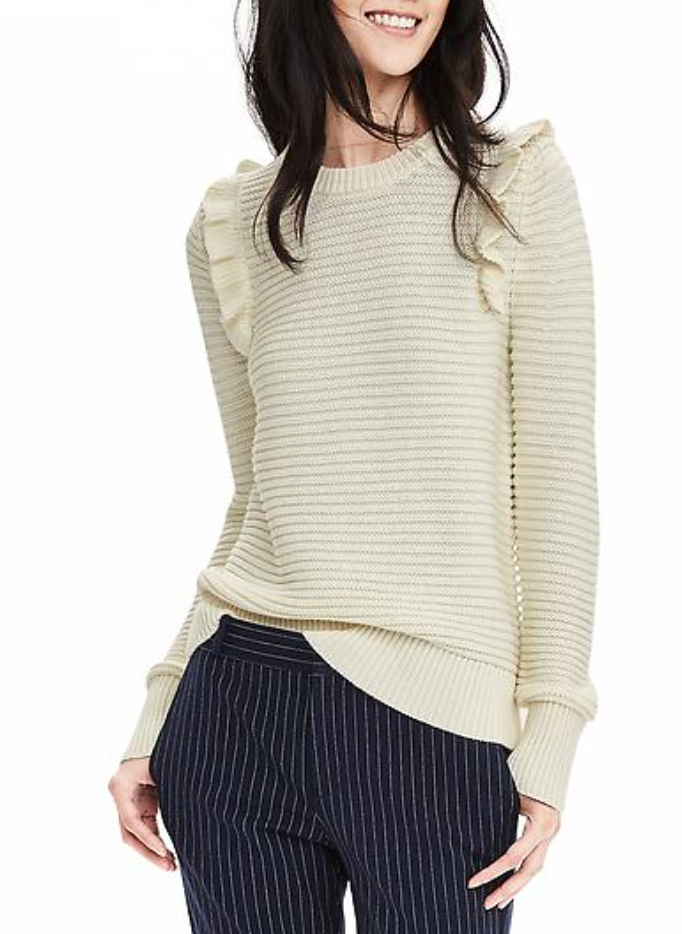 Such a cute little ruffle detail on this Banana Republic sweater!