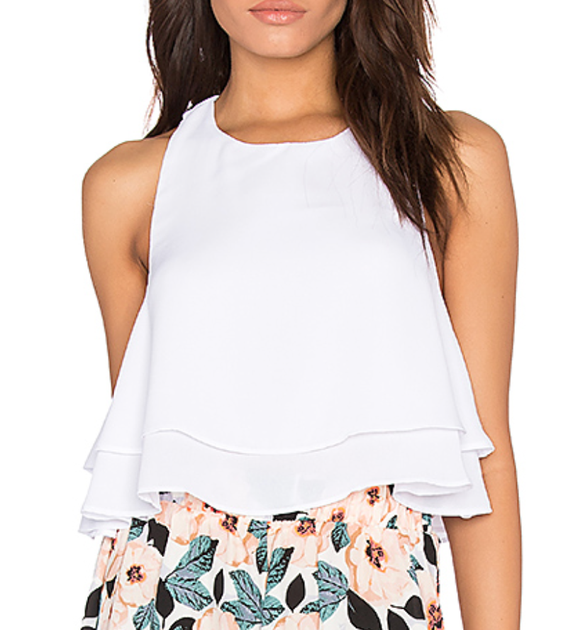 A super cute take on a classic white tank top with adorable ruffle hem by Show Me Your Mumu