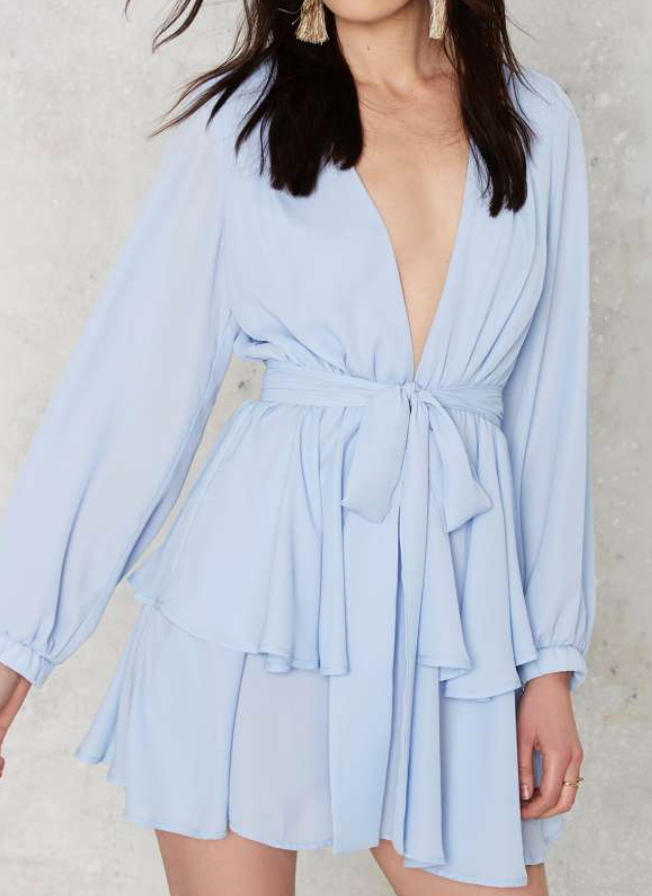 I love this Light Blue Long Sleeved Ruffle Dress from Nasty Gal it's so chic and pretty and makes me want to go to a music festival ASAP