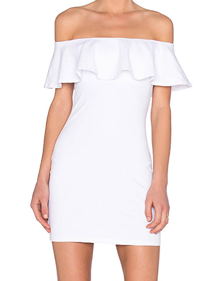 White Off Shoulder Ruffle Dress from Revolve -- such a cute going out dress!