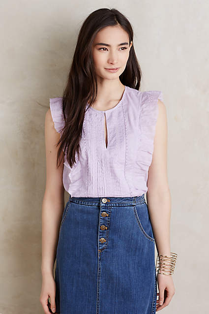 Such a great casual ruffle blouse from Anthropologie and I love the unique lilac color! So pretty!