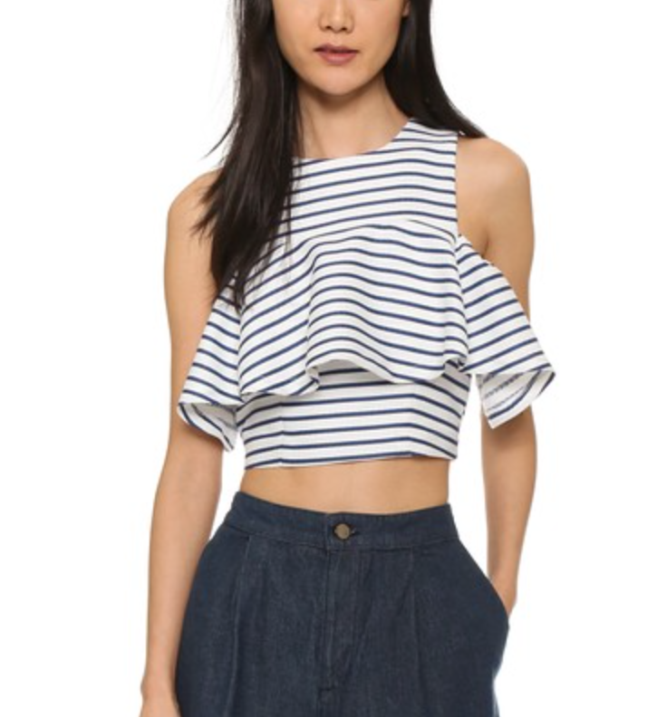 You can never own enough striped tops -- I'm pretty sure Confucius said that and he was right... And this J.O.A. ruffled striped top is such a great take on a classic!