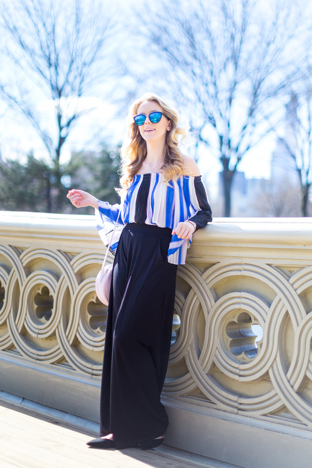NYC Central Park Blue Off Shoulder Wide Leg Outfit-4.jpg