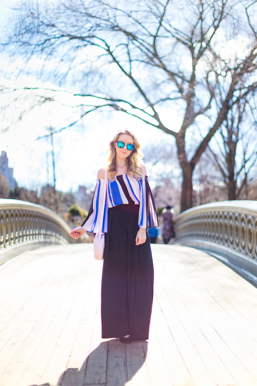 NYC Central Park Blue Off Shoulder Wide Leg Outfit.jpg