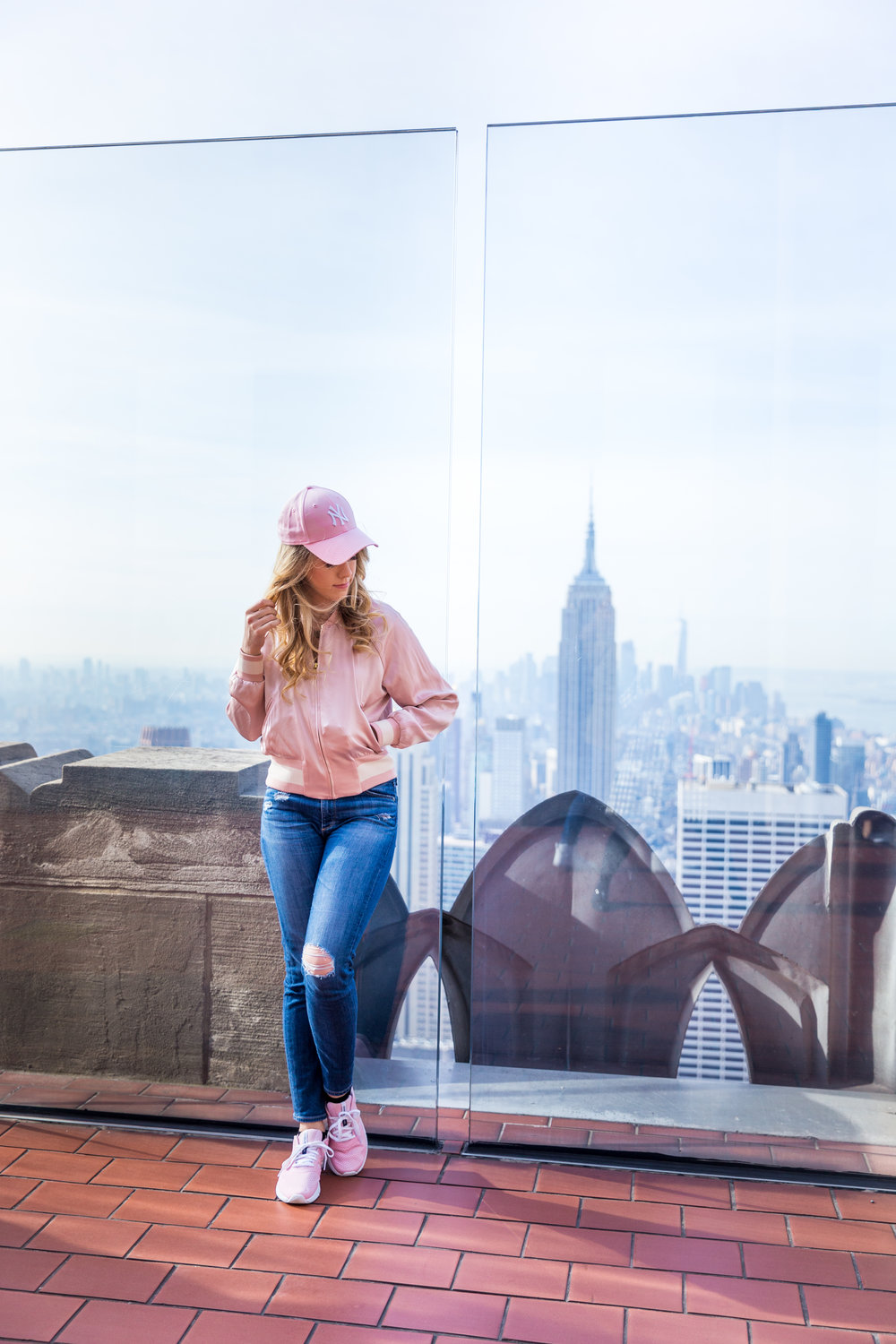 NYC Top of the Rock Pink Baseball Hat Outfit-.jpg
