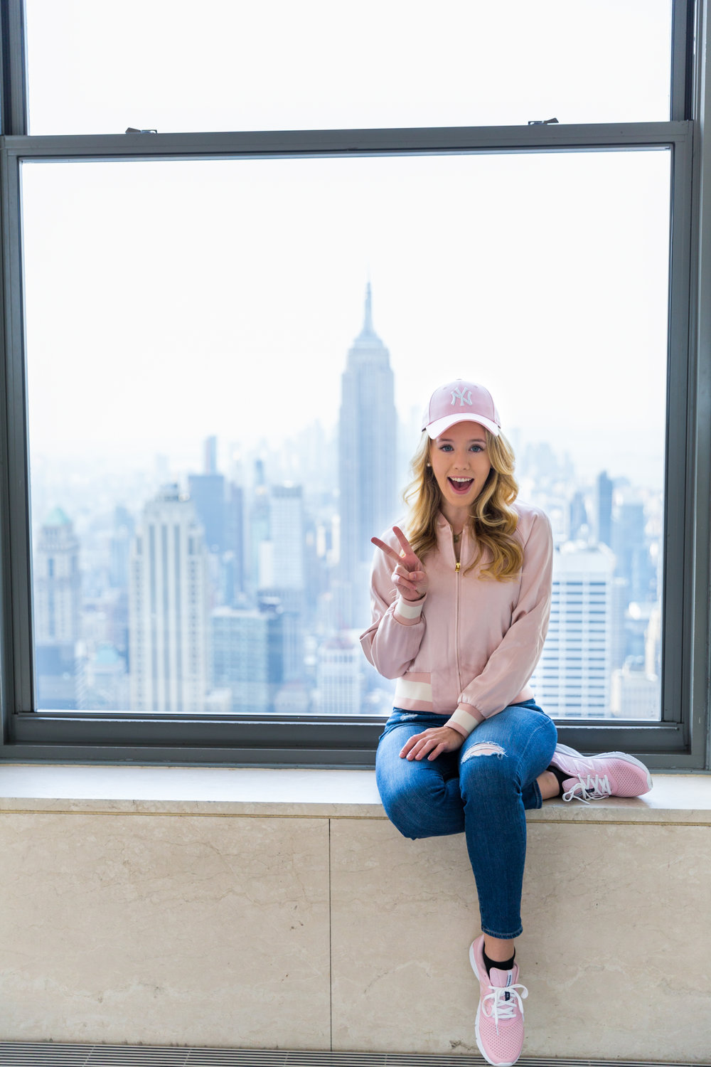 NYC Top of the Rock Pink Baseball Hat Outfit--7.jpg