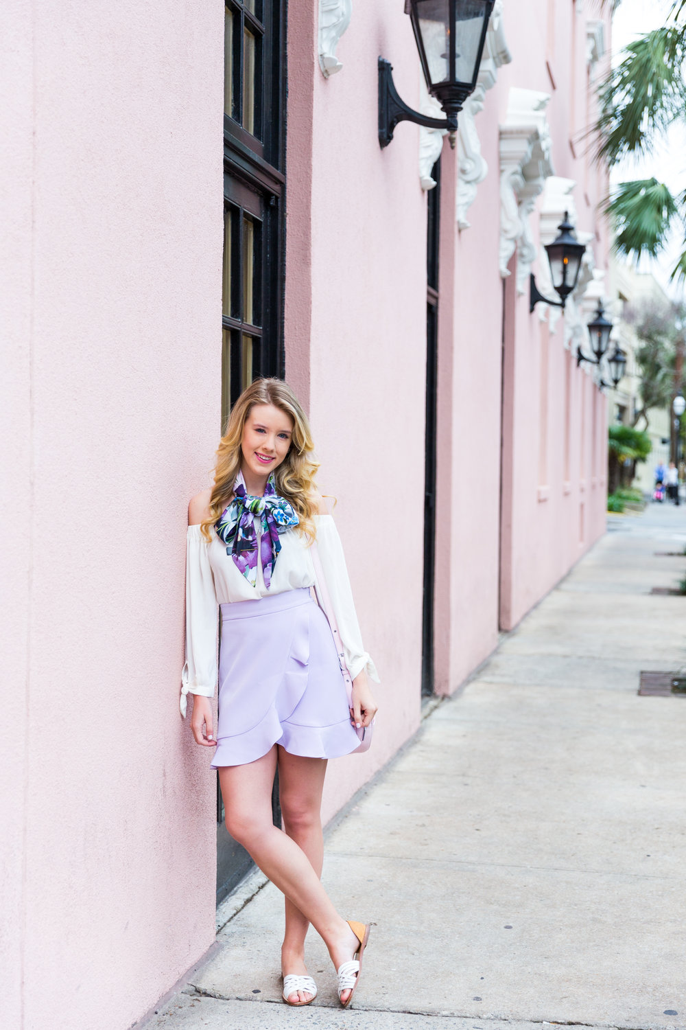 Charleston Purple Ruffle Floral Scarf Spring Outfit-4.jpg