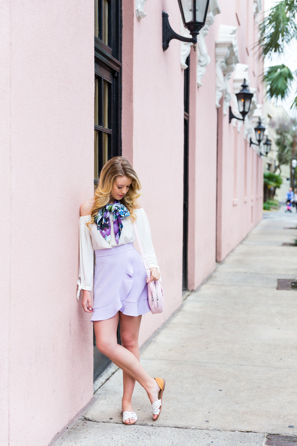 Charleston Purple Ruffle Floral Scarf Spring Outfit-5.jpg