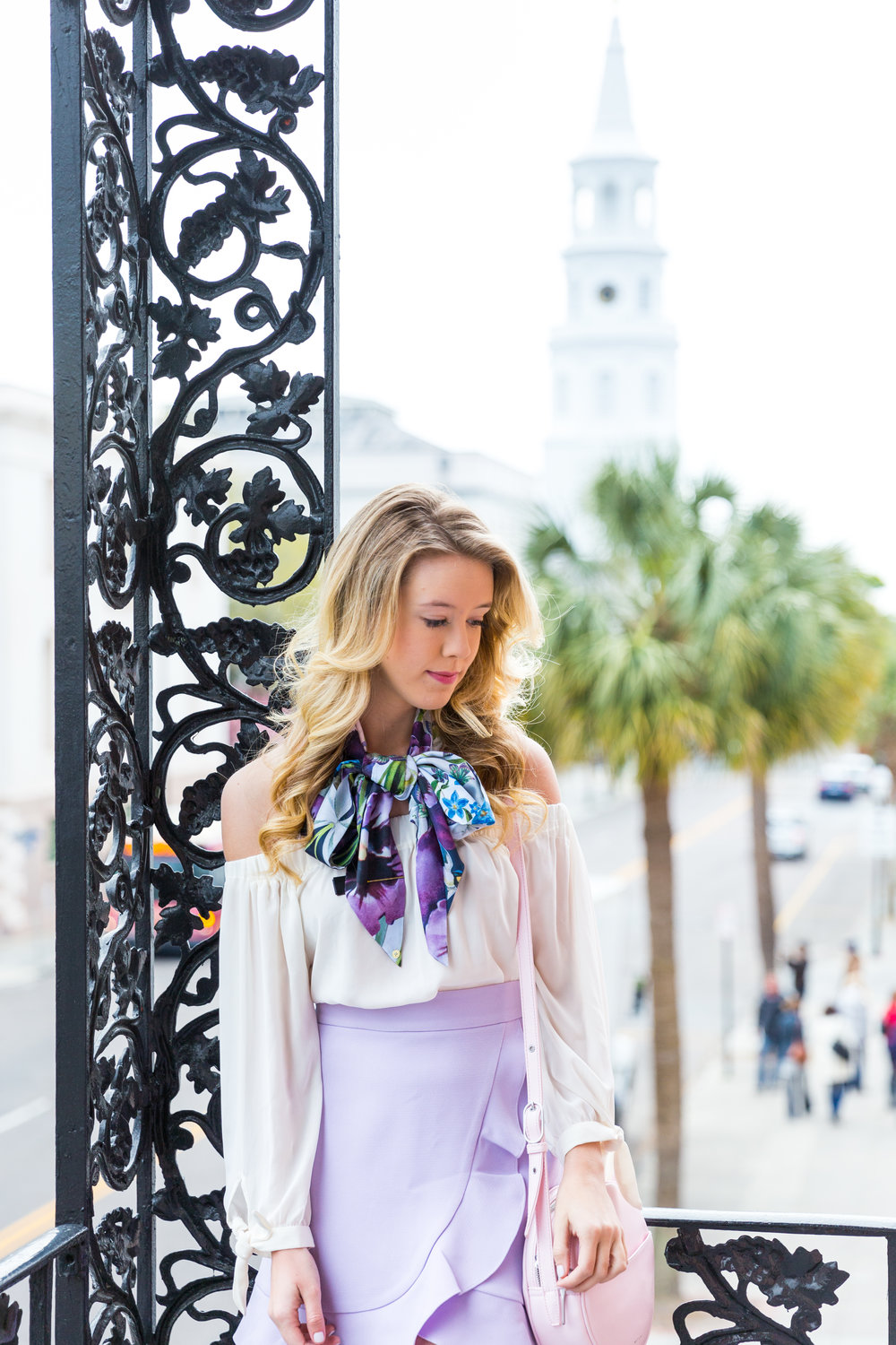 Charleston Purple Ruffle Floral Scarf Spring Outfit-9.jpg