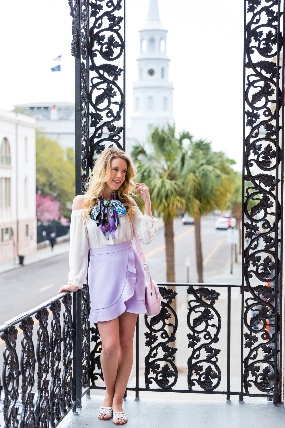 Charleston Purple Ruffle Floral Scarf Spring Outfit-12.jpg
