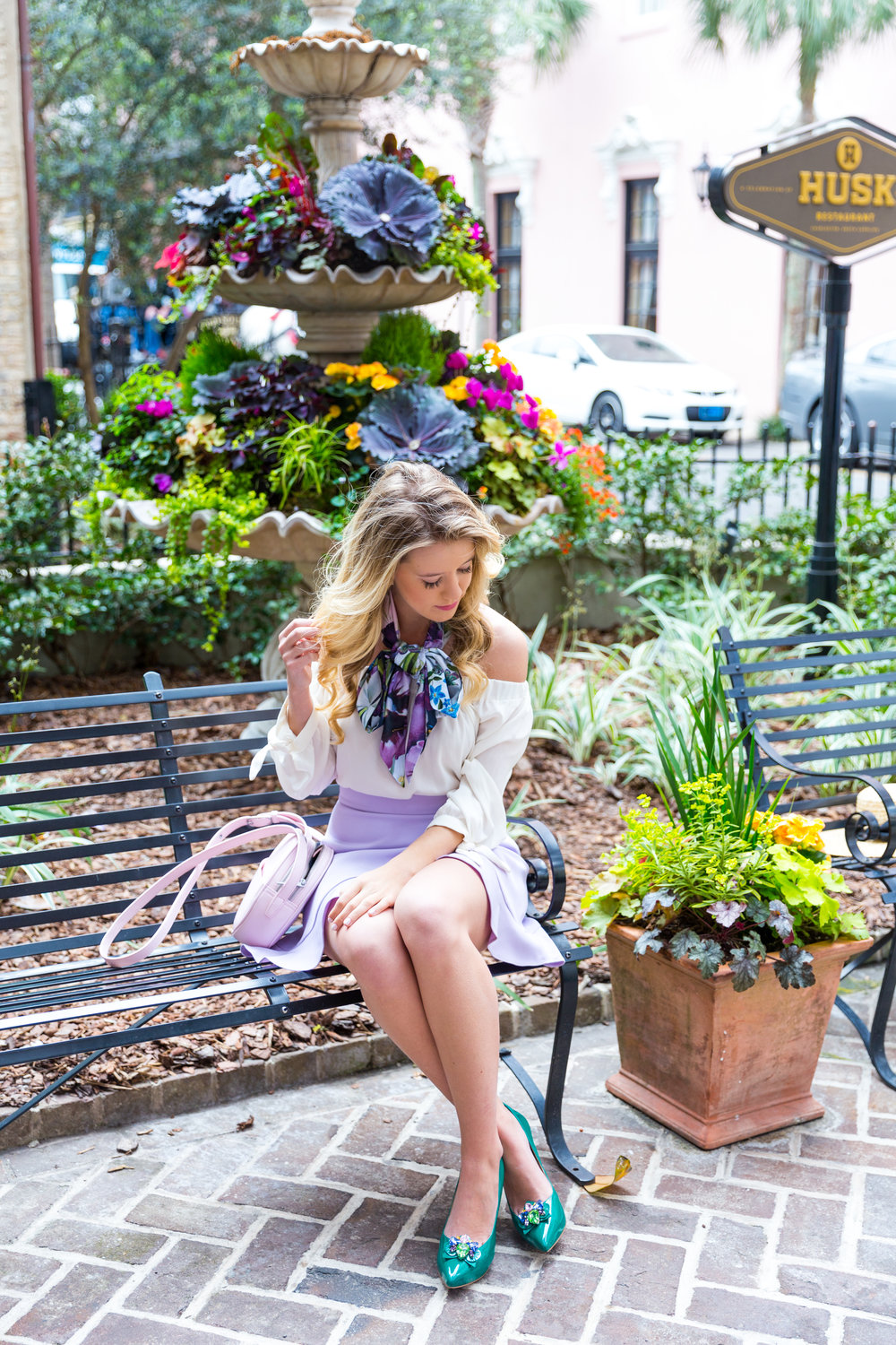 Charleston Purple Ruffle Floral Scarf Spring Outfit-14.jpg