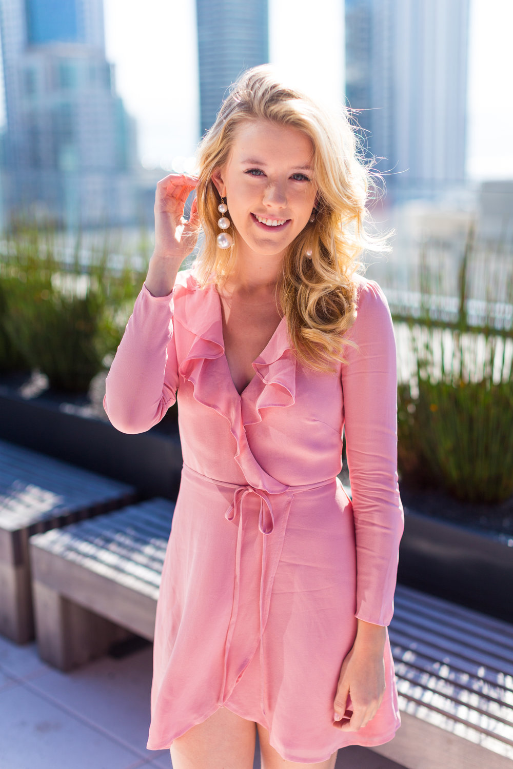 Pink Ruffle Wrap Dress Spring in San Francisco.jpg