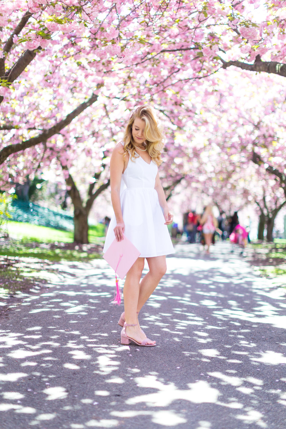 White Graduation Dress Spring Pink Cherry Blossoms NYC-3.jpg