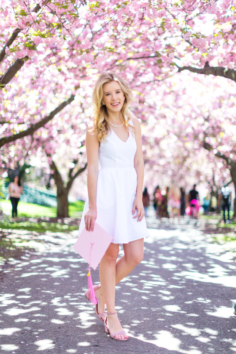 White Graduation Dress Spring Pink Cherry Blossoms NYC.jpg