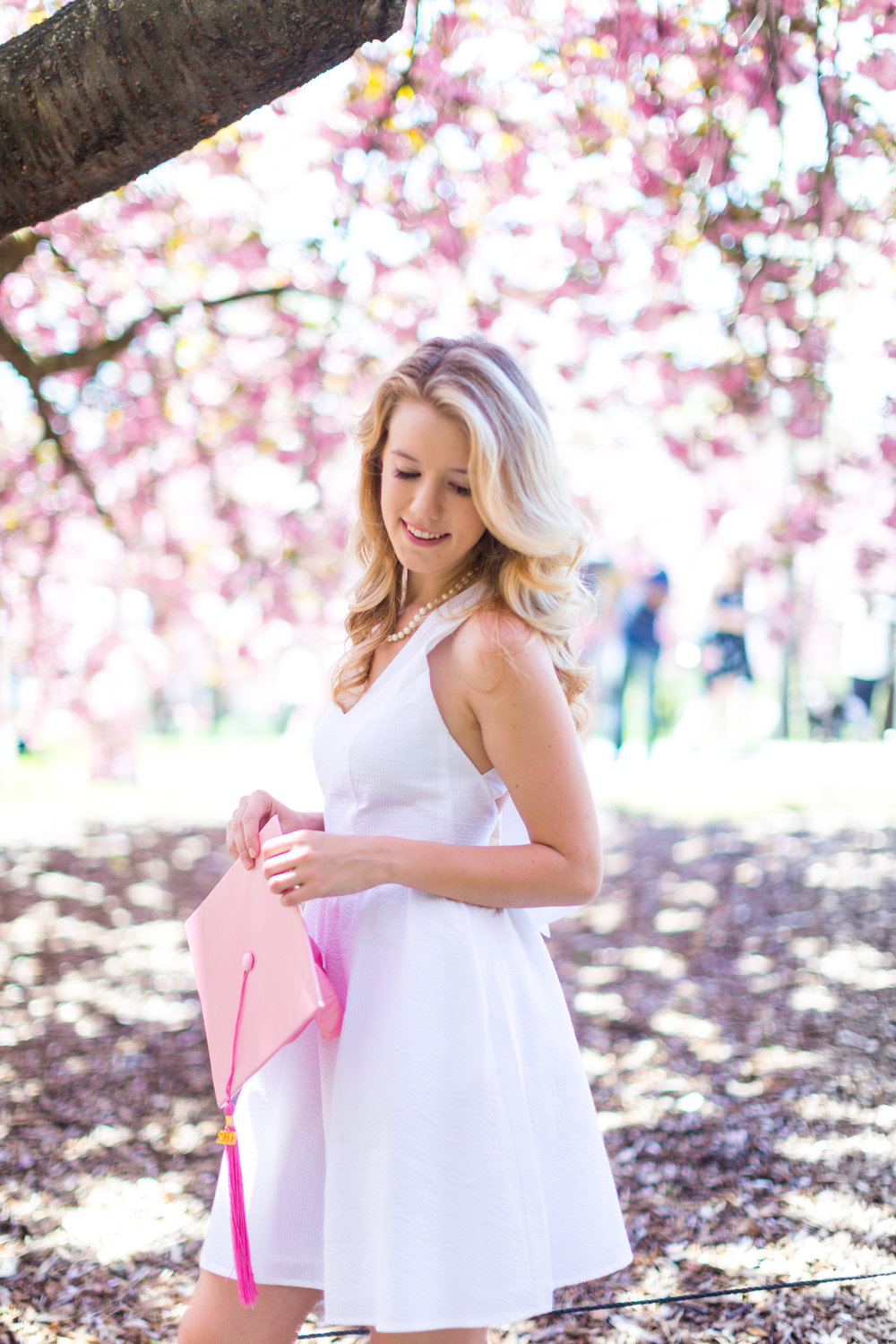 White Graduation Dress Spring Pink Cherry Blossoms NYC-23.jpg