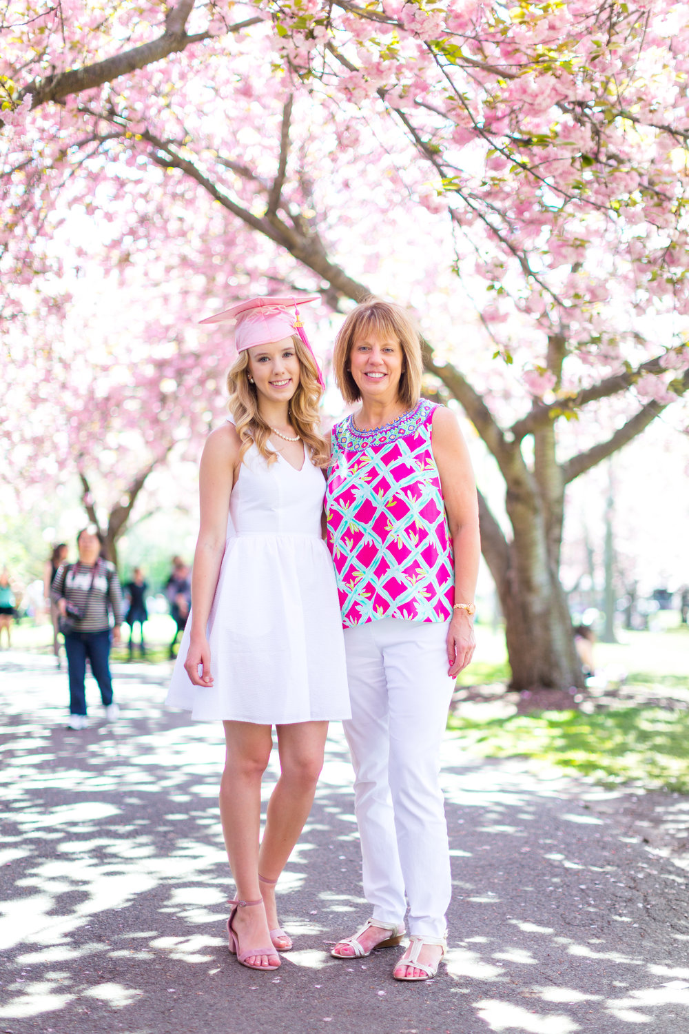 White Graduation Dress Spring Pink Cherry Blossoms NYC-24.jpg