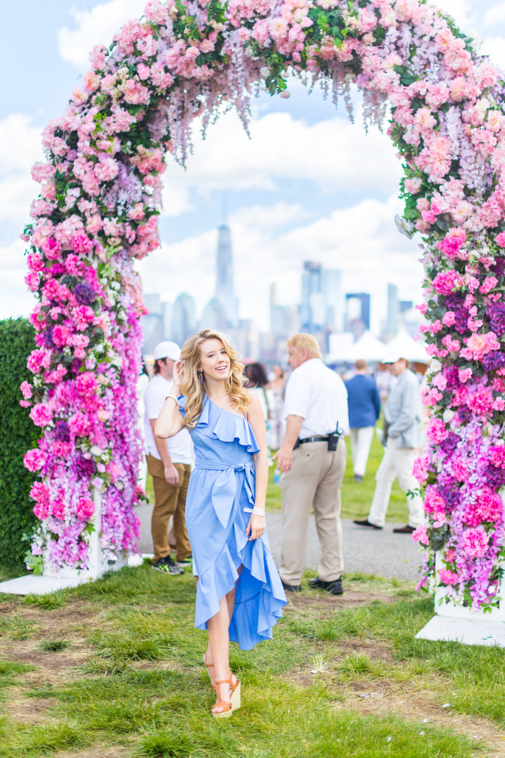 Veuve Clicquot Polo Classic NYC Summer Style Ruffled One Shoulder Blue Dress-2.jpg