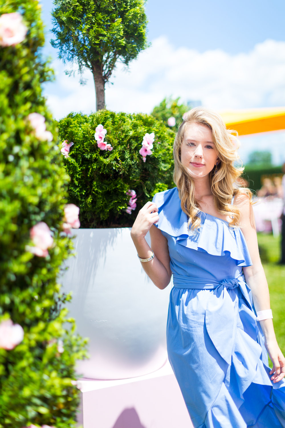 Veuve Clicquot Polo Classic NYC Summer Style Ruffled One Shoulder Blue Dress-4.jpg