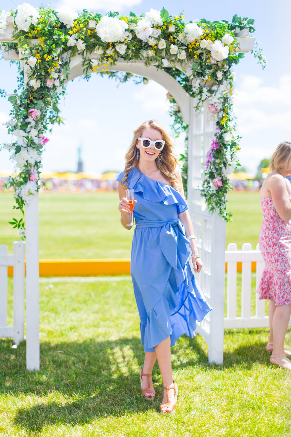 Veuve Clicquot Polo Classic NYC Summer Style Ruffled One Shoulder Blue Dress-8.jpg