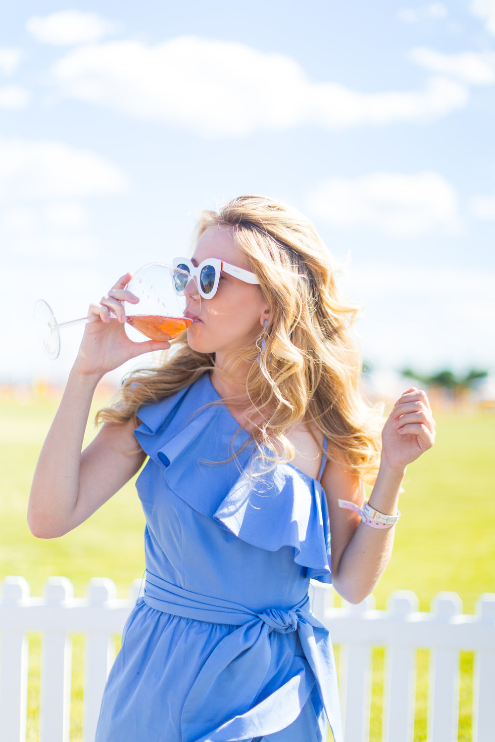 Veuve Clicquot Polo Classic NYC Summer Style Ruffled One Shoulder Blue Dress-12.jpg