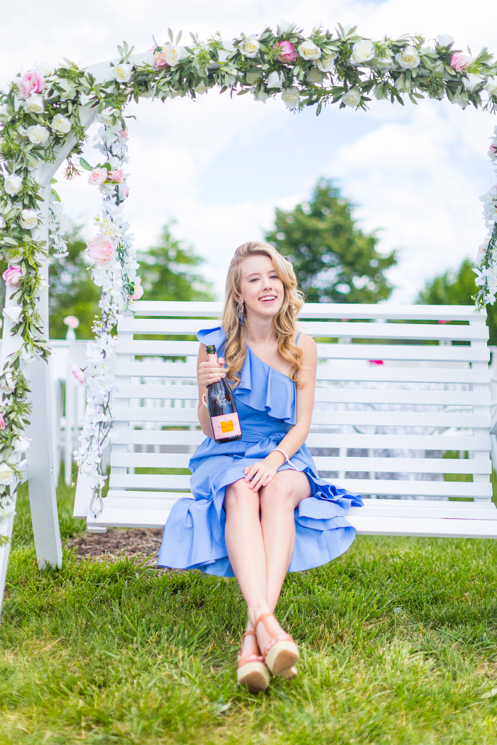 Veuve Clicquot Polo Classic NYC Summer Style Ruffled One Shoulder Blue Dress-19.jpg
