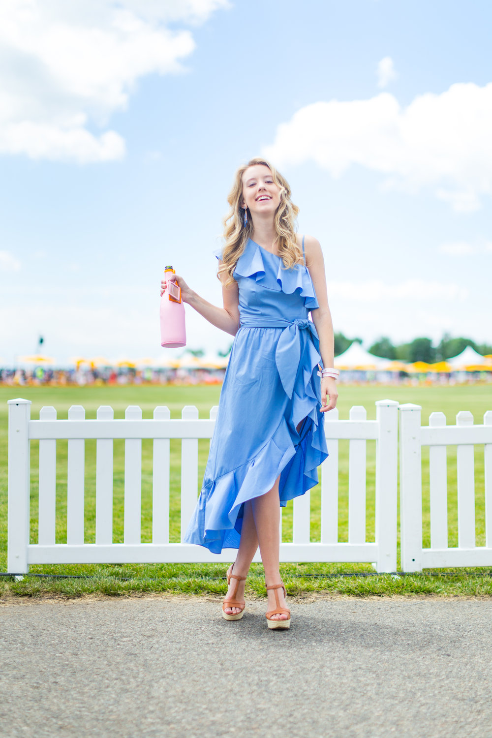 Veuve Clicquot Polo Classic NYC Summer Style Ruffled One Shoulder Blue Dress-24.jpg