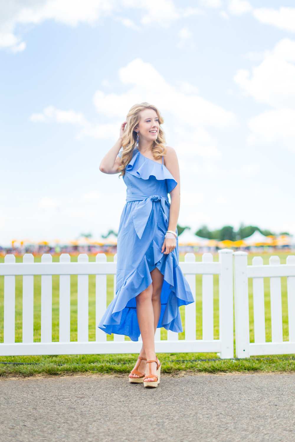 Veuve Clicquot Polo Classic NYC Summer Style Ruffled One Shoulder Blue Dress-25.jpg