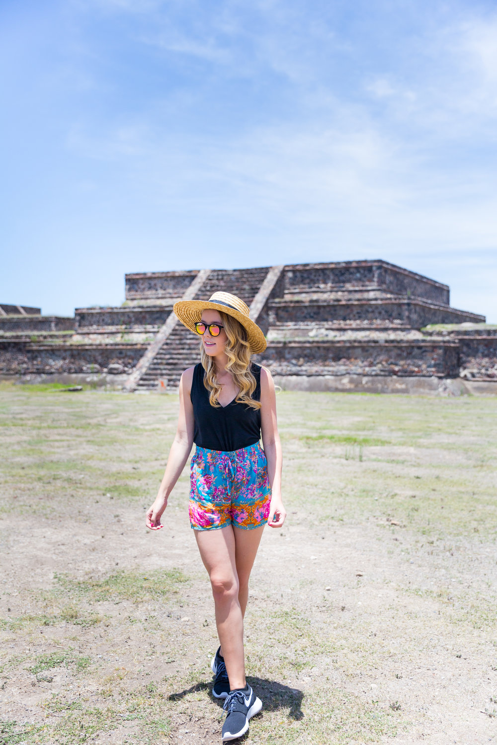 Mexico City Teotihuacan Pyramids Pattern Shorts Casual Summer Outfit-5.jpg